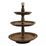 Country Cottage 3 Tier Mango Wood Cake Stand