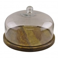 Mango Wood Cake Stand With Glass Dome