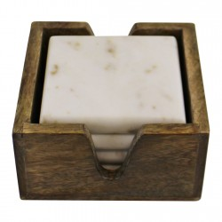 Set of 4 High Quality Marble Coasters In A Mango Wood Holder