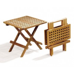 Folding Square Teak Picnic Table With Handle