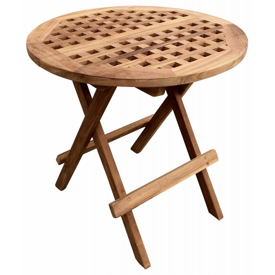 Folding Round Teak Picnic Table With Handle