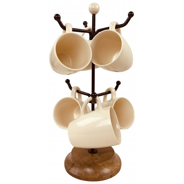 Mug Tree With Six Ceramic Mugs