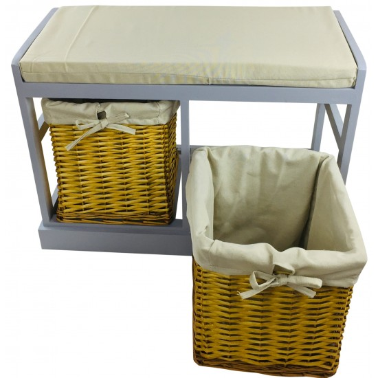 Wooden Seat Bench With 2 Baskets & Cushion 70cm