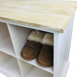 Wooden Bench With 8 Storage Compartments 96cm