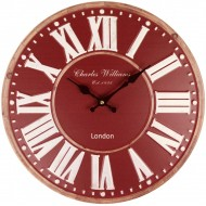 Burgundy Metal Wall Clock 40cm