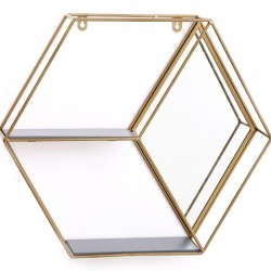 Gold Hexagon Unit With Mirror & 2 Shelves