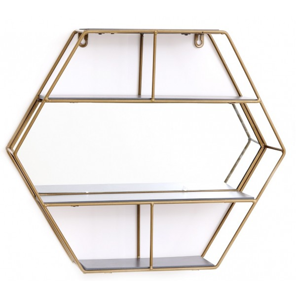 Gold Hexagon Unit With Mirror & 3 Shelves