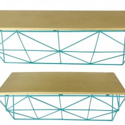 Teal & Copper Wire Shelve