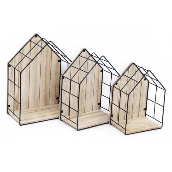 Wood & Wire House Shaped Display Units, Set of 3