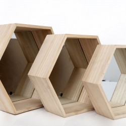 Set of Three Hexagon Mirrored Shelves