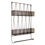 Diamond Wall Shelf With Rail Copper