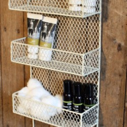 3 Tier Overdoor Shelf and Hooks Cream