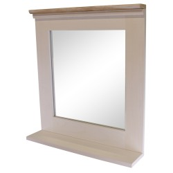Whitewashed Wall Mirror With Vanity Shelf