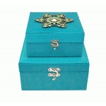 2 x Aqua Jewelled Storage Boxes 18cm & 22cm