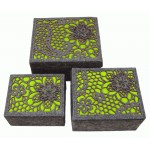 3 x Lime Luxury Storage Boxes