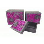 3 x Fuscia Luxury Storage Boxes