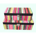 2 x Rainbow Fabric Covered Storage Boxes 39cm & 34cm