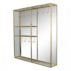 Gold Metal And Glass Mirror Wall Hung Jewellery Box