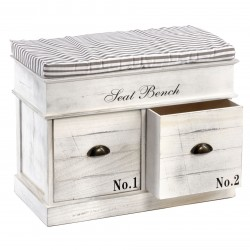 White Wood Seat Bench 2 Drawers 70 x 35 x 50cm
