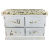 French Themed Wood Cabinet with 4 Drawers 70cm