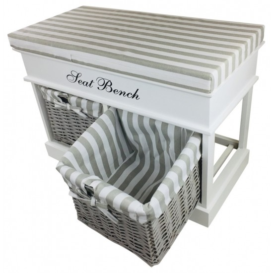 White Seat Bench With 2 Baskets & Lid 70cm