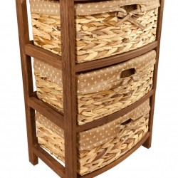 Dark Brown Three Basket Tall Cabinet 57cm
