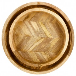 Herringbone Wood Trays Set of 2