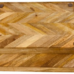 Herringbone Square Wood Rustic Trays Set of 2