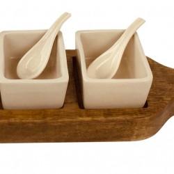 Wooden Tray With Dip Bowls & Spoons 36cm
