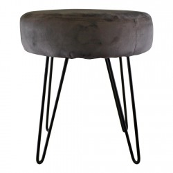 Grey Velvet Black Wire Leg Stool 35x40cm