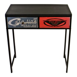 Black Console Table With 2 Drawers, Retro Design To Drawers