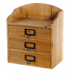 3 Drawers Rustic Wood Storage Organizer 25 x 16 x 29 cm