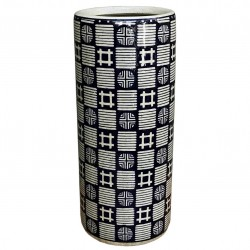 Dark Blue, Grey Squares & Circles Umbrella Stand