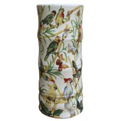 Ceramic Umbrella Stand, Bamboo And Tropical Bird Design