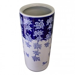 Umbrella Stand Vintage Blue & White Flowers and Butterfly Design