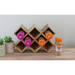 Freestanding Wooden Spice Rack, holds 8 bottles