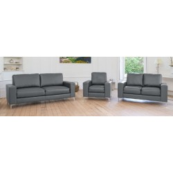 Bonded Leather Chrome Feet Sofa