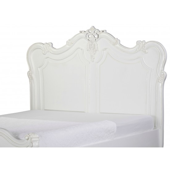 Baroque 5ft Hand Carved White King Bed