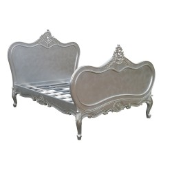 French Chateau 4ft6 Double Size Solid Wooden Mahogany Silver Leaf Bed