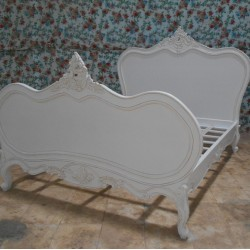 French Chateau 6ft Super King Solid Wooden Mahogany White Painted Bed