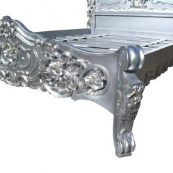 Rococo Silver 4ft6 Double Size Carved Bed