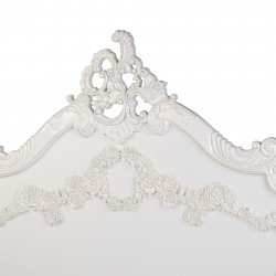Ornate 5ft Carved White King Size Bed