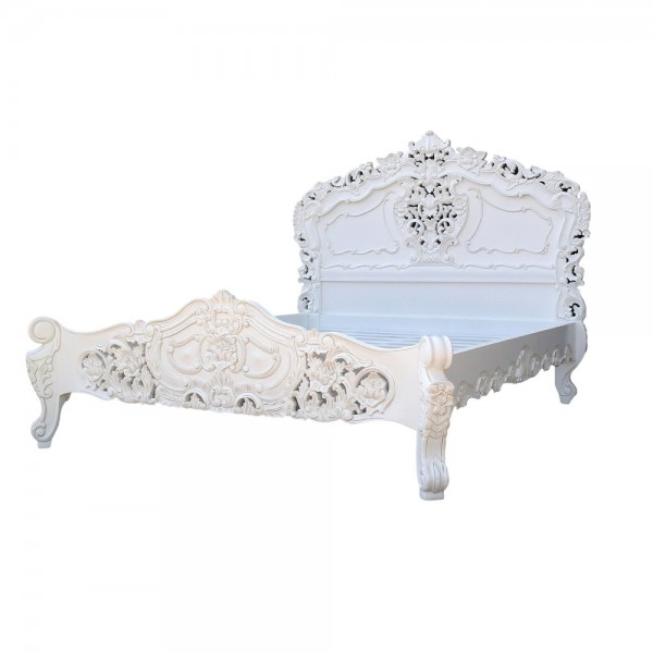 Rococo 4ft6 Double Size Mahogany Carved White Painted Bed