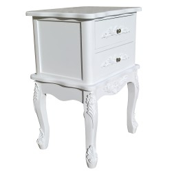 French White 2 Drawer Bedside