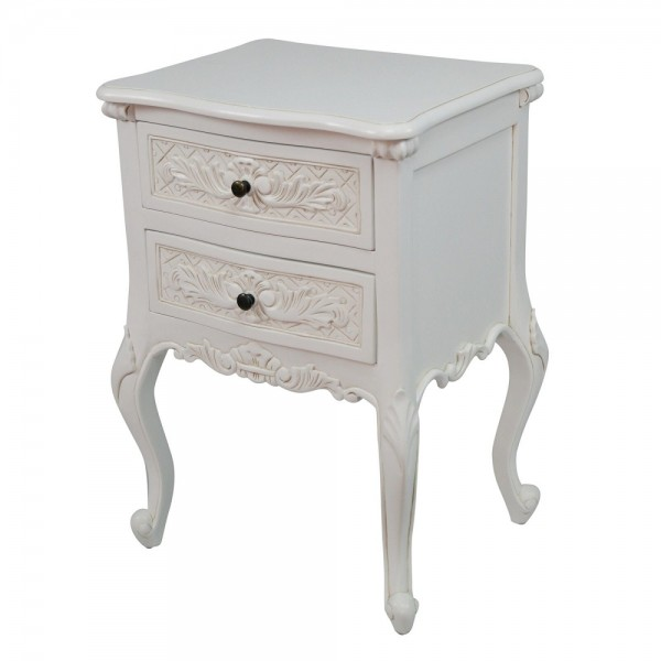 French Wooden Carved White Chateau Bedside