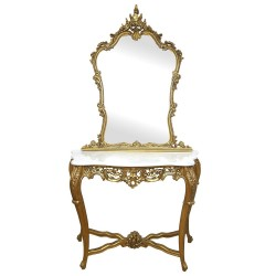 Gold Carved Console & Mirror with White Marble Top