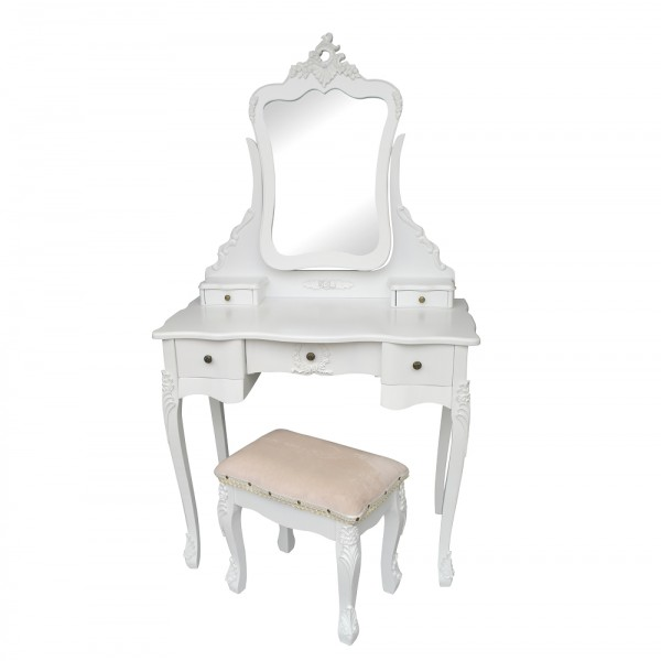 French White Dressing Table & Stool