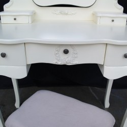 French Antique Cream Dressing Table & Stool
