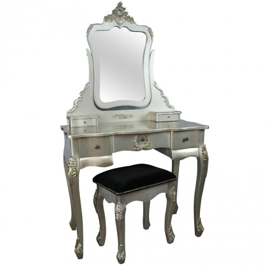 French Antique Silver Dressing Table & Stool