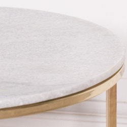 Gold Metal Side Table With Marble Top